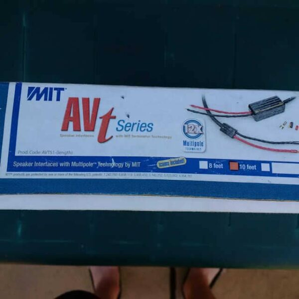 Outside box of MIT AVtS1 speaker cable at Ammonite Audio
